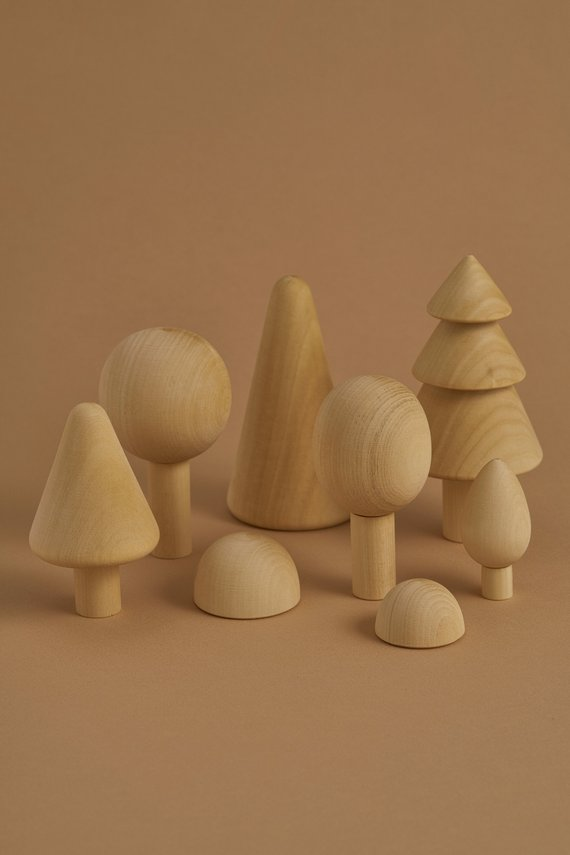 Waldorf wooden toy trees