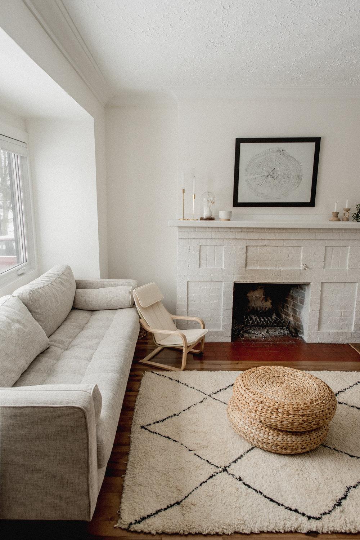 Moroccan meets Scandinavian inspired minimalist living room