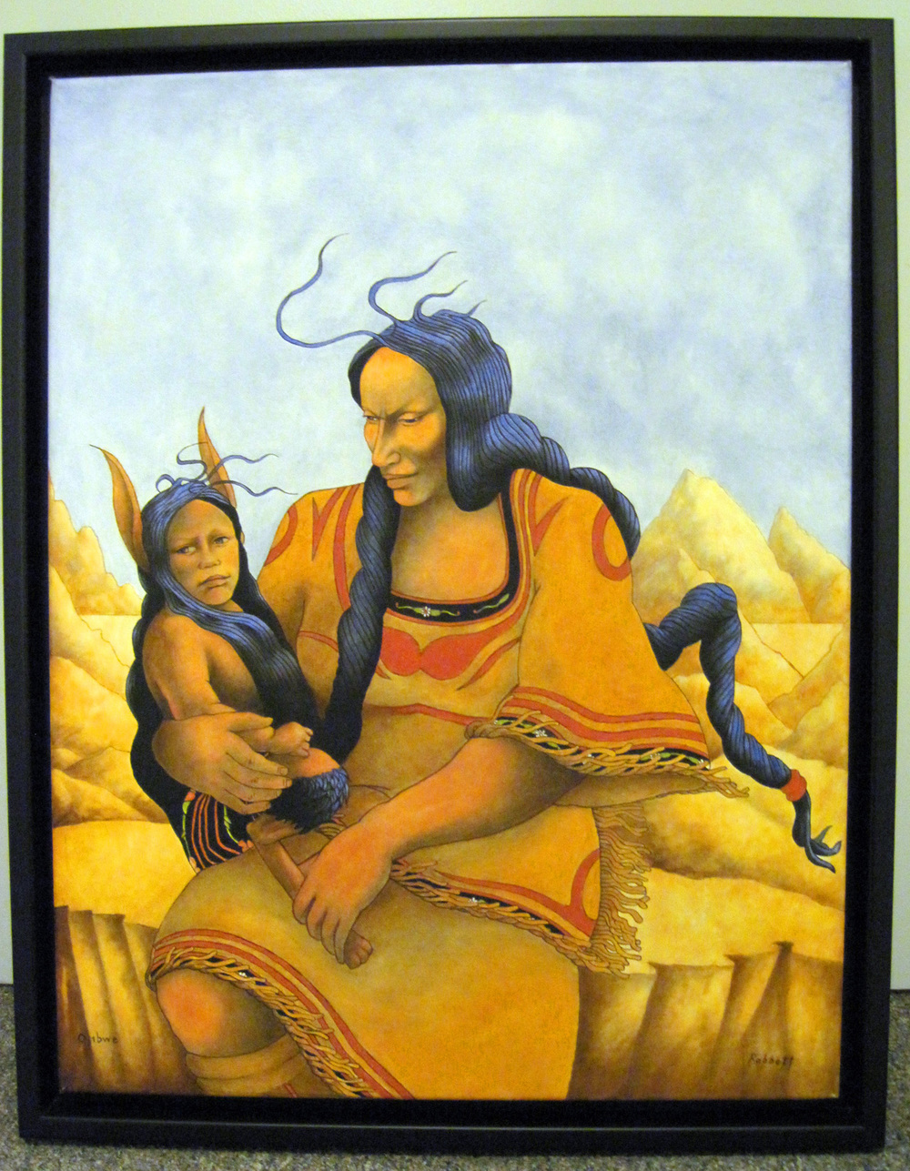 """Nanabozho and Winonah"" 2001 oil on canvas. Collection of the Madeline Island Museum, Wisconsin Historical Society. Rabbett Before Horses Strickland (Anishinaabe, born 1949)"