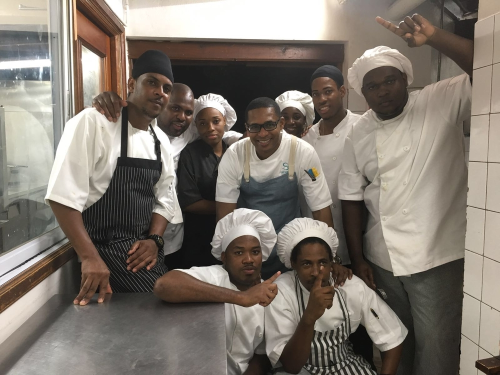 Chef Shorne and the kitchen staff at Cap Maison Hotel.