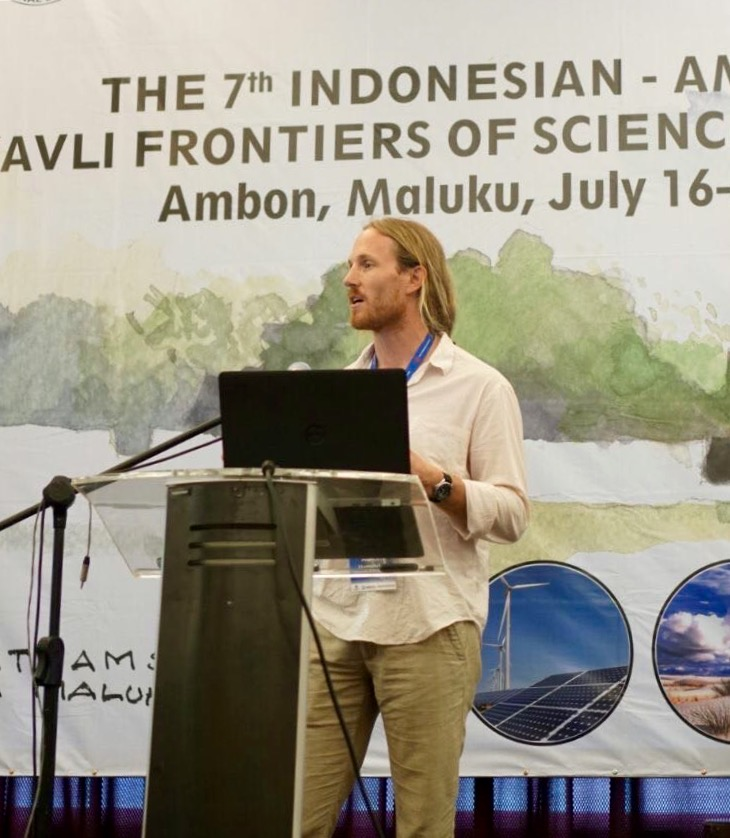 Austin giving a symposium talk in Ambon, Indonesia