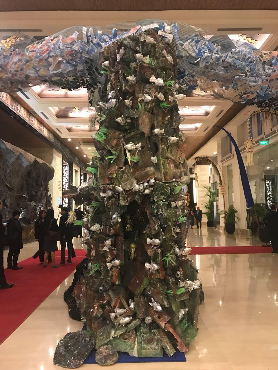 Sculptures crafted from plastic trash decorate the halls of Our Ocean 2018.