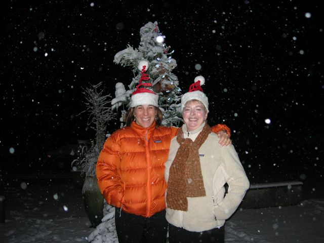 Judy Hathaway and Janice being festive! December 2008