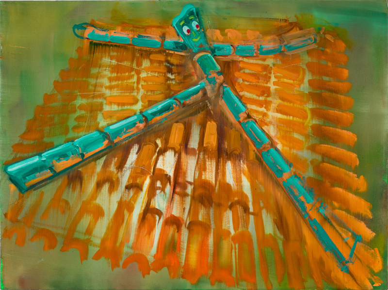 """Roof with Gumby,"" 2016, 30″ x 40″, oil on canvas"