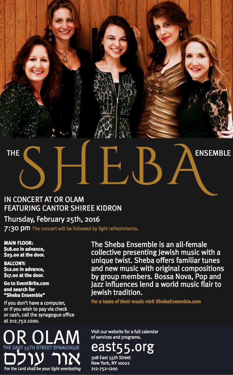 Sheba Ensemble | Jewish Women's Music Ensemble | Or Olam Concert