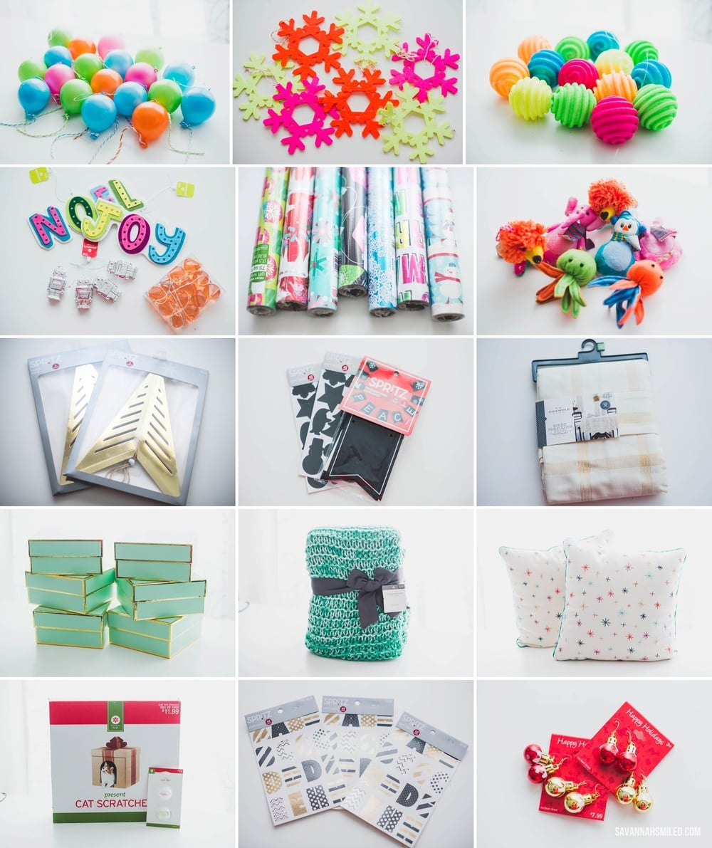 Plastic Balloon Ornaments (x19) | Felt Snowflake Ornaments (x7) | Foam Ornaments (x14) | Various Ornaments (x4) | Wrapping Paper (x7+) | Animal Ornaments (x7) | Spritz Gold Stars (x2) | Spritz Chalkboard Stickers & Banner | Threshold Tablecloth | Sugar Paper Boxes (x6) | Threshold Throw Blanket | Threshold Decorative Pillows (x2) | Cat Scratch Box and Toys | Spritz Alphabet Stickers (x3) | Ornament Earrings (x2)