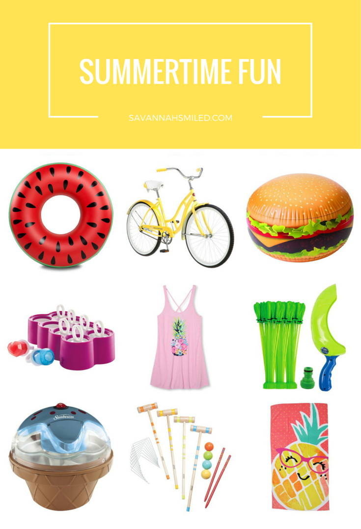 Watermelon Float  |  Yellow Bike  |  Hamburger Beach Ball  |  Ring Popsicles  |  Pineapple Coverup  |  Water Balloons  |  Ice Cream Maker  |  Croquet Game  |  Pineapple Beach Towel