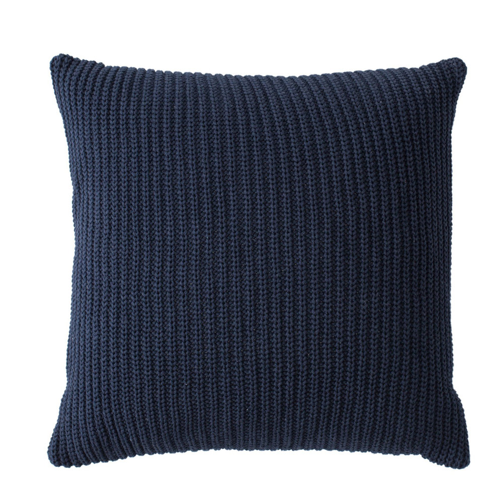 NAVY KNIT THROW PILLOW
