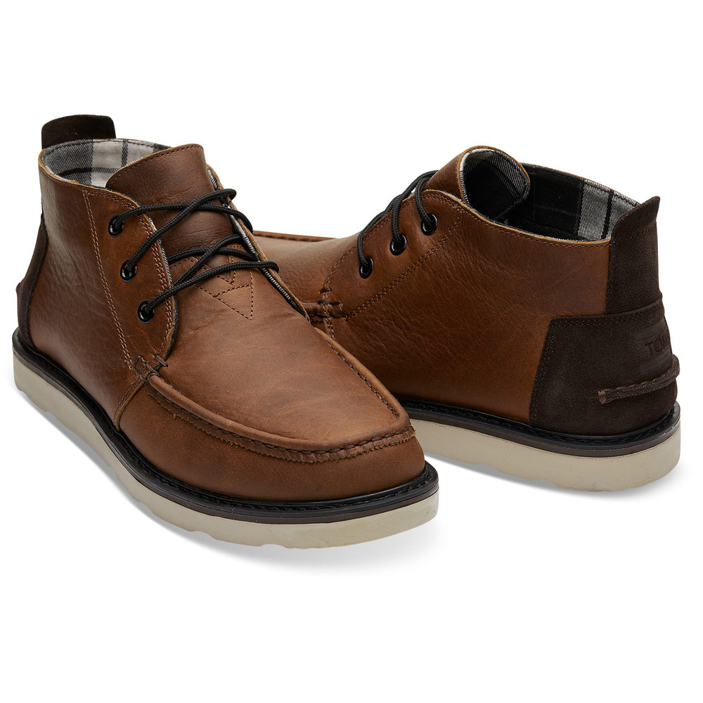 WATERPROOF BROWN PULL UP LEATHER MEN'S CHUKKA BOOTS