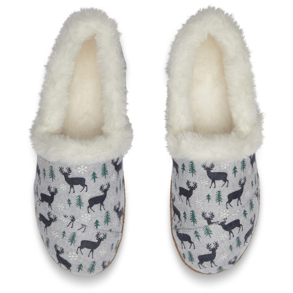 DRIZZLE GREY DEER WOMEN'S HOUSE SLIPPERS