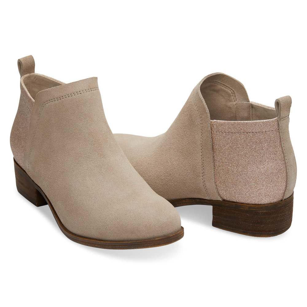 OXFORD TAN SUEDE AND GLIMMER WOMEN'S DEIA BOOTIES
