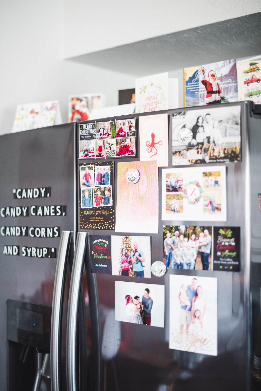 Cover your Fridge in Christmas Cards from Family and Friends