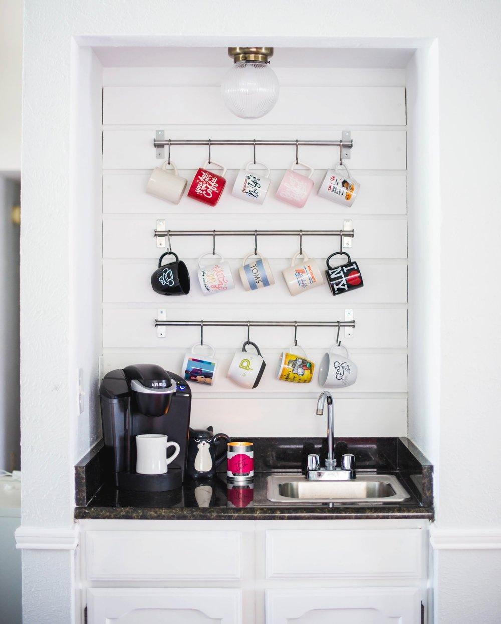 Living Room Coffee Bar with Hanging Mugs