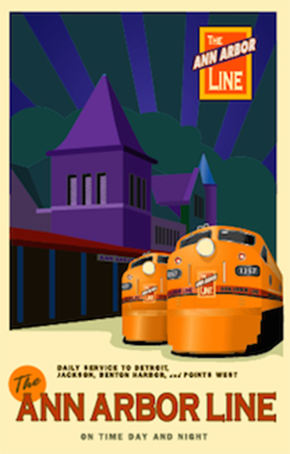 Ann Arbor Line Railroad Poster