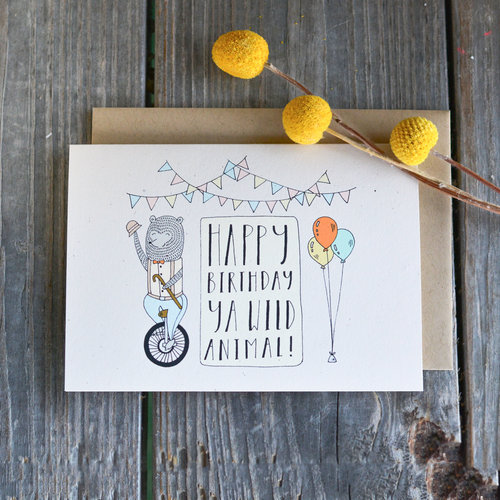 Champaign Paper Hand Drawn Greeting Cards Wild Animal Birthday Card