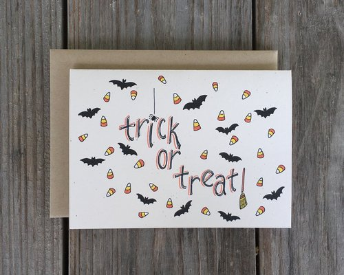 Champaign paper hand drawn greeting cards trick or treat card trick or treat card m4hsunfo