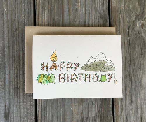 Champaign Paper Hand Drawn Greeting Cards Camping Happy Birthday Card