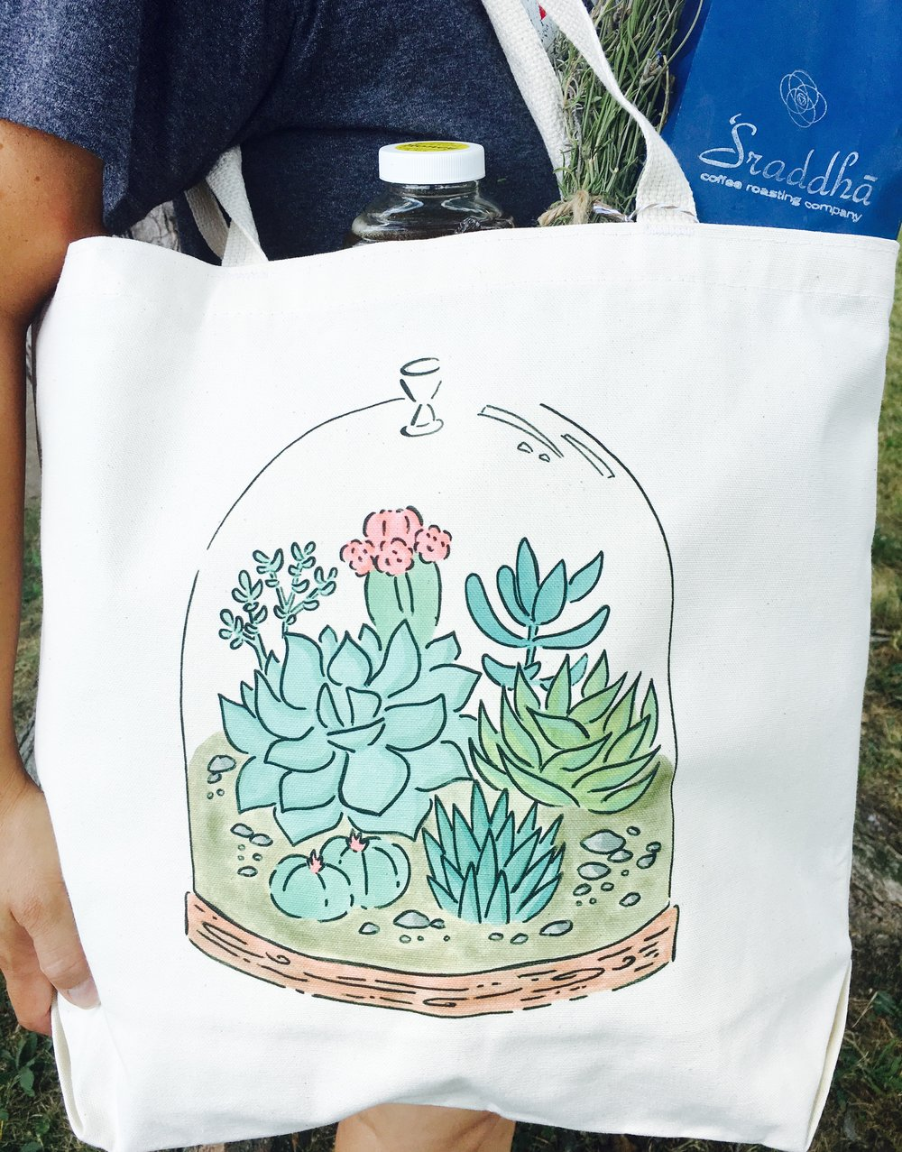 One of our totes, filled with local goodies