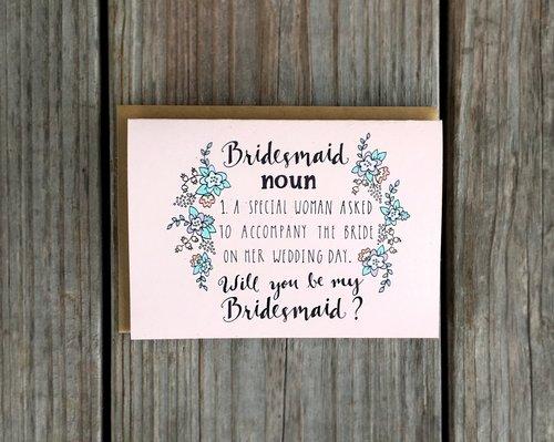 Champaign paper bridal bridesmaid noun card bridesmaid noun card stopboris Choice Image