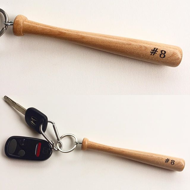 "Personalized with your favorite player's number and #handcrafted from American grown maple just like the pros swing, this #baseball bat keychain is ""gas station bathroom"" size for the #baseballmom who has a hard time finding her minivan keys in the depths of her purse."