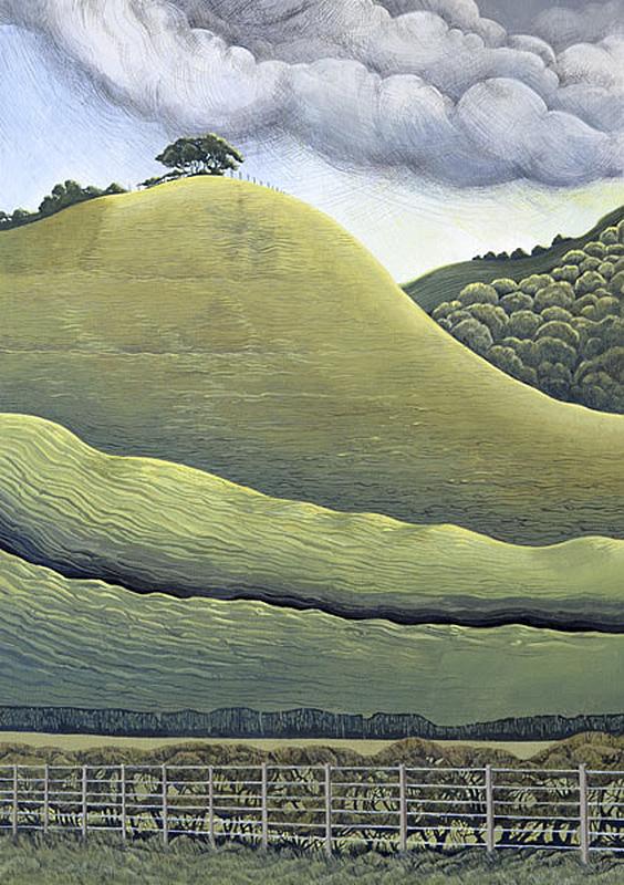 The Trees On The Hill -  Ar Y Bryn Roedd Pren  625 mm x 905mm, acrylic -  acrylig   SOLD - Gwerthu
