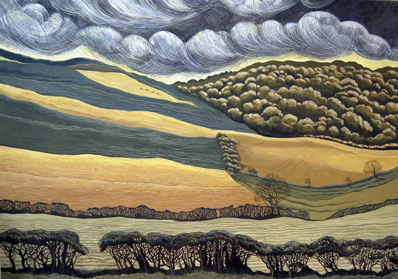 Land of Hedges and Fences - Tir Cloddio a Ffensys  625 mm x 905mm, acrylic -  acrylig   SOLD - Gwerthu