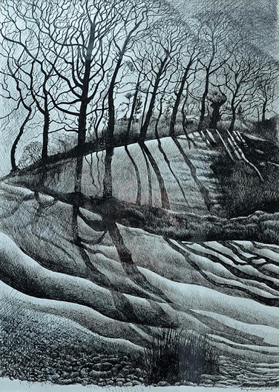 Winter Light -  Golau Yn Y Gaeaf  330mm x 487mm, ink -  inc   SOLD - Gwerthu