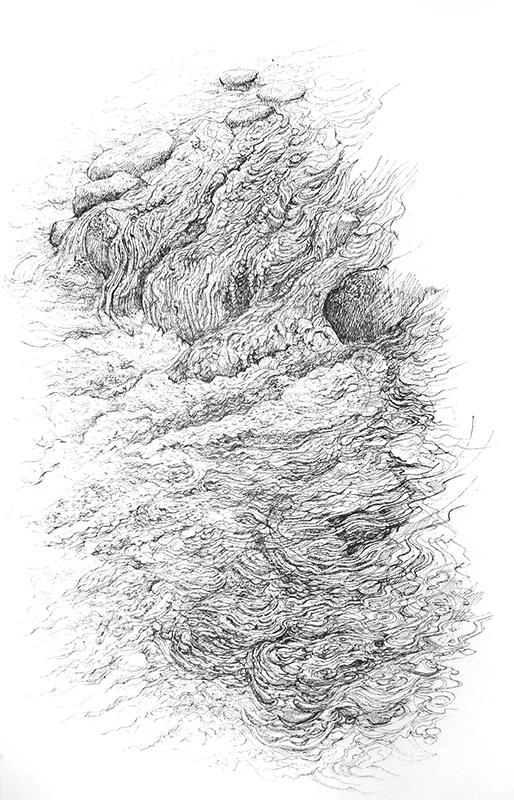 First Journey 1 -   Y Tro Cyntaf 1   pen on paper - pen ar bapur   Price -  Pris  £1,195