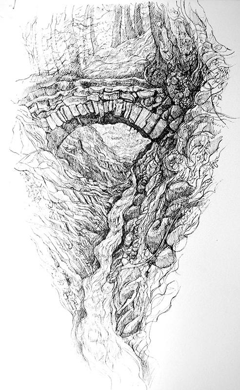 First Journey 4 - Y Tro Cyntaf 4   pen on paper - pen ar bapur    Sold    - Gwerthu