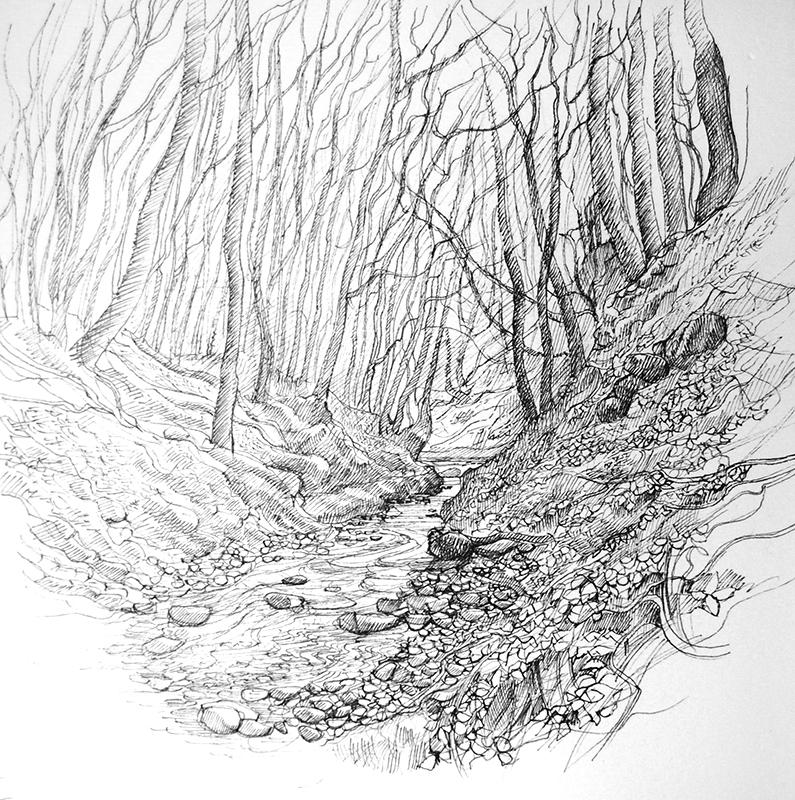 First Journey 3 - Y Tro Cyntaf 3   pen on paper - pen ar bapur    Poet's collection -  Casgliad y Bardd