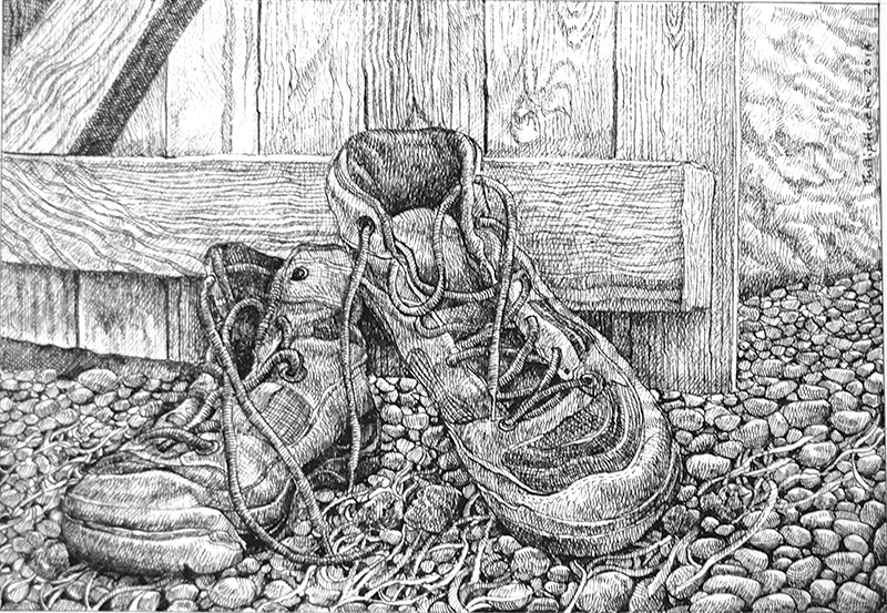 The Small Cow House 1 - Y Beudy Bach 1   pen on paper - pen ar bapur   SOLD - Gwerthu