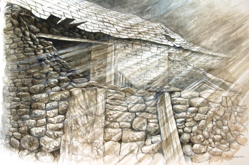 Old Farm Buildings -  Hen Adeiladau Fferm   watercolour -dyfrlliw (380 mm x 550 mm)  £1,950