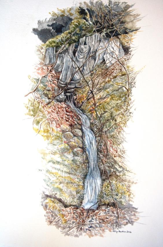 Sacred Spring - Tarddu Sanctaidd   watercolour - dyfrlliw  (380 mm x 550 mm)    SOLD -  Gwerthu