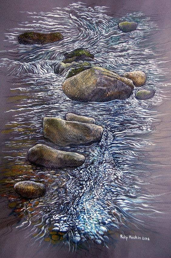 Flowing Water -  Dw   r yn llifo   graphite, watercolour and pastel - graffit, dyfrlliw a phastel  (320mm x 450mm)  £TBC