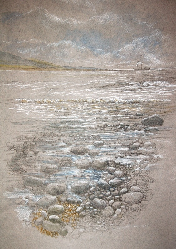 Aberarth Harbour - Harbwr Aberarth   graphite, watercolour and pastel - graffit, dyfrlliw a phastel  (320mm x 450mm)   £TBC