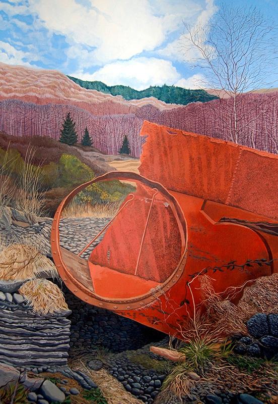 Through The Looking Glass - Trwy Lygad y Drych  625mm x 905mm, acrylic - acrylig   Price -  Pris  £2,995