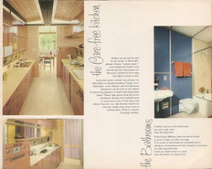 Efficient galley kitchen for one cook only. The toilet tank is tiled up inside the wall. From the original Alcoa  Care-Free Home brochure, posted by www.ourcarefreehome.com.