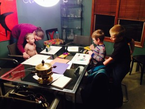 Nanny Meg (aka Mary Poppins) helps the boys make get-well cards for you.