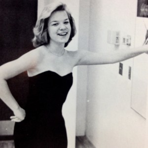The dorky sophomore Eden, about to sing from the Great American Songbook at the high school talent show, 1985