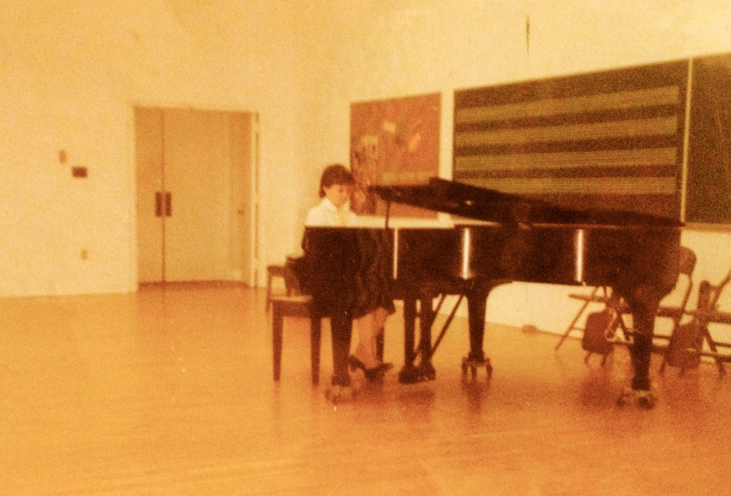 Eighth Grade piano recital, around the time I was still practicing faithfully. (OMG look at the piano dolly casters!!)