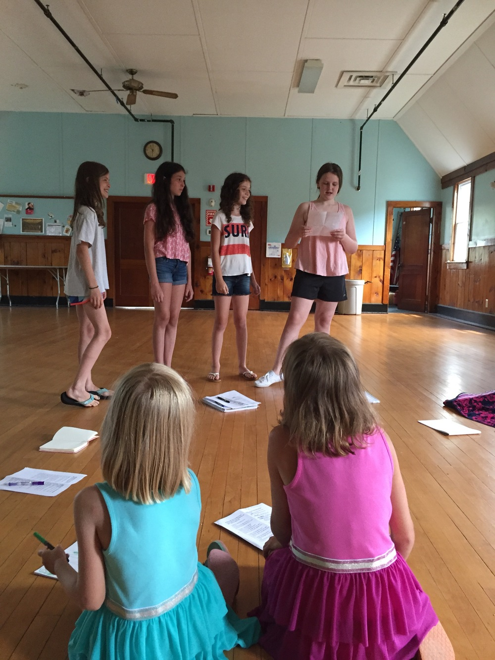 Workshop actors creating a new script, July 2015