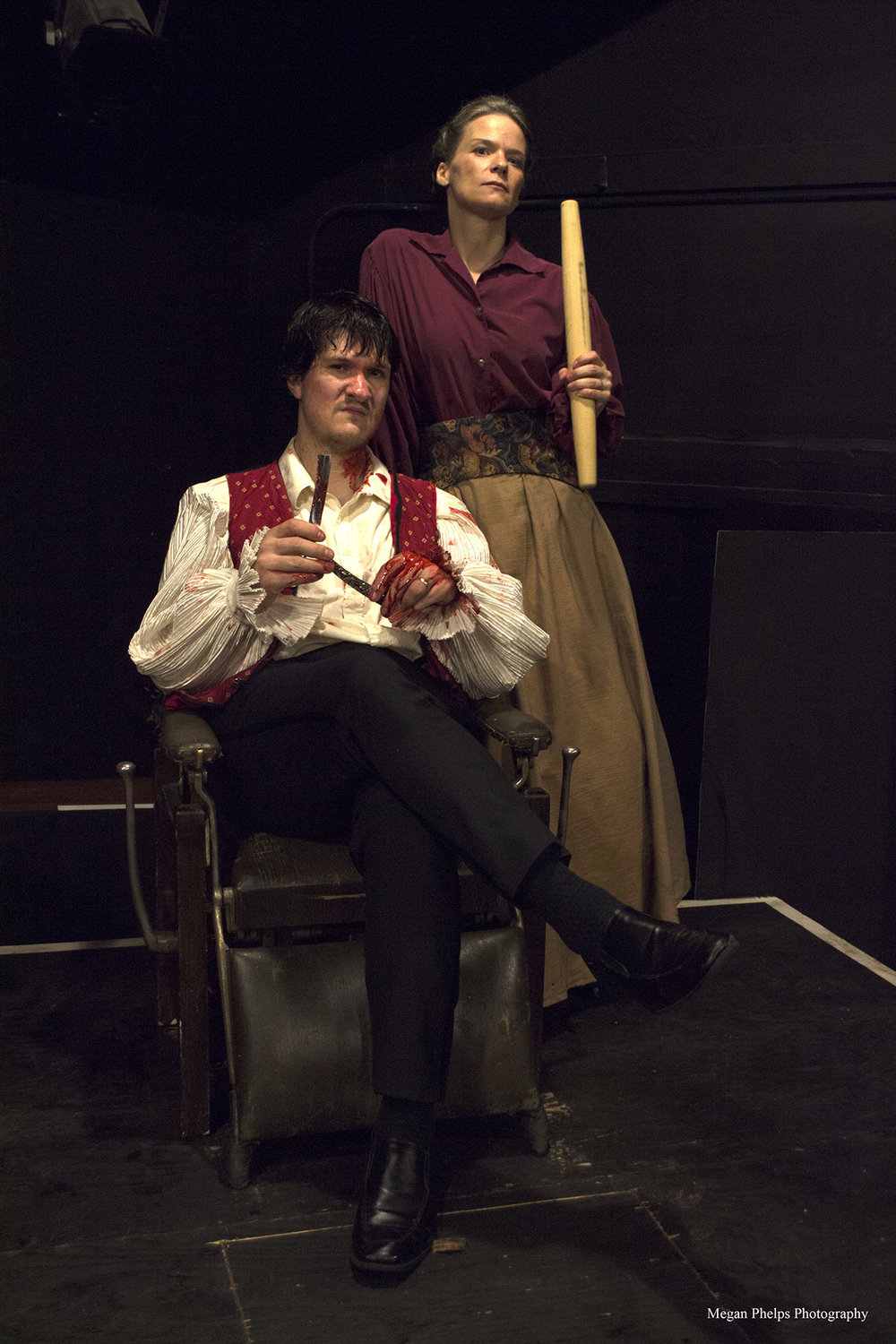 Jason Shealy as Sweeney Todd, with Eden Casteel as Mrs. Lovett.. Photo by Seth Jacobson Photography.