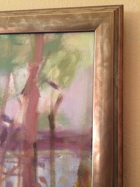 A detail of a framed painting by John Lo Presti
