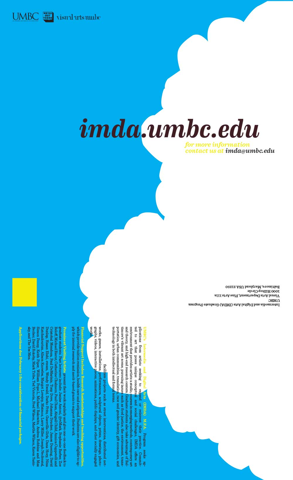 Promotional poster and mailer for the Intermedia and Digital Arts Graduate Program at University of Maryland, Baltimore County - side one
