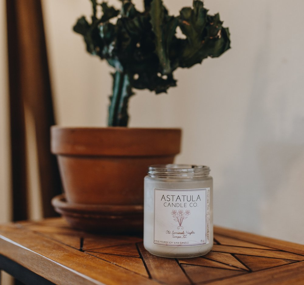 Astatula Candles  - I am in love with my friend Angela's candles! They are free of Wax additives, Lead, and Phthalates and made of 100% Soy, cotton wicks and essential oils. Her scents are original, eclectic, and smell amazing! Astatula comes from a small town in central florida and means something to her with the connection it has to her family. Insta: @astatulaWebsite: Astatulacandleco.com