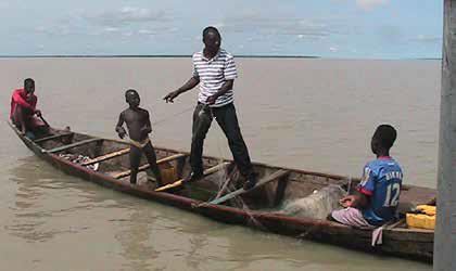 James on Lake Volta during a rescue mission