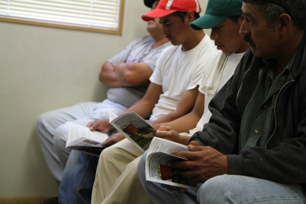"Tomato pickers receiving a ""know your rights"" education session facilitated by CIW farmworker staff, April 2011. Photograph courtesy of Laura Emilko Soltis and the CIW."