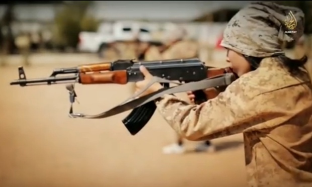 An ISIS child soldier in a still from a recruitment video.