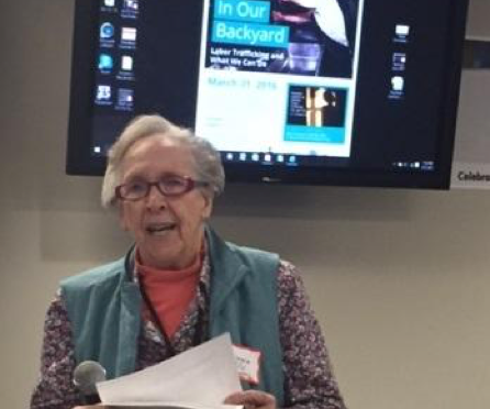 Sr. Joyce Cox, BVM, founding member of the Multifaith Coalition, speaking at the gathering on March 31st.
