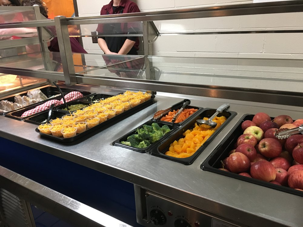 - Choices are showcased on the lunch service line. Students can help themselves to a variety of fruits and vegetables.